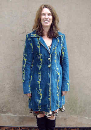 womens embroidered navy velvet jacket