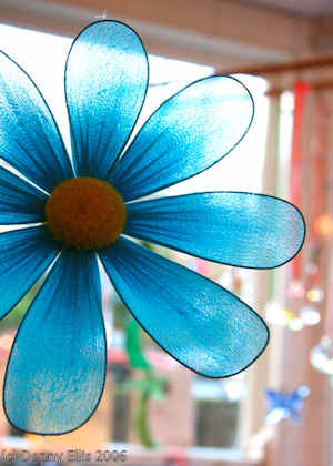 blue flower mobile closeup